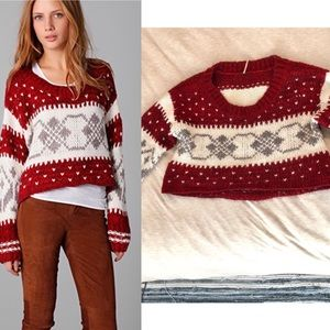 FREE PEOPLE Christmas Sweater - Red